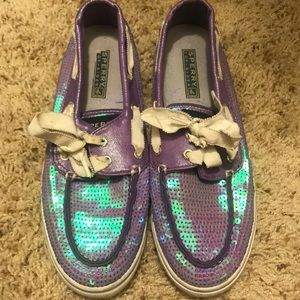 Purple sequin iridescent Sperrys